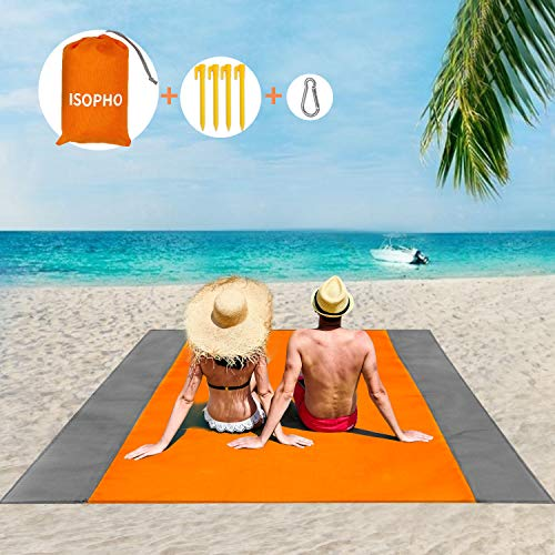 ISOPHO Beach Mat Picnic Blanket, Extra Large 210 x 200cm Beach blanket Waterproof Sandproof Water Resistant Picnic Blanket with 4 Fixed Nails, Reinforced Edging for Beach, Camping, Hiking & Picnic