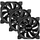 PCCOOLER 120mm Case Fan 3 Pack Dark Night Series, DN-120 High Performance Cooling PC Fans - Efficient Hydraulic Bearing - Low Vibration and Quiet Computer Fans for PC Case