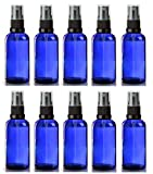 Avalon 50ml Blue Glass Bottles with Black Atomiser Spray ~ Pack of 10 ~ Refillable, Reusable, and Travel Sized ~ Perfect for Aromatherapy, Perfumes, Essential Oils, Aftershaves, and More