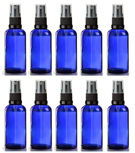 Avalon Lot de 10 flacons en verre bleu avec atomiseur noir rechargeables réutilisables et format voyage Idéal pour aromathérapie, parfums, huiles essentielles, après-rasage, et plus encore 50 ml