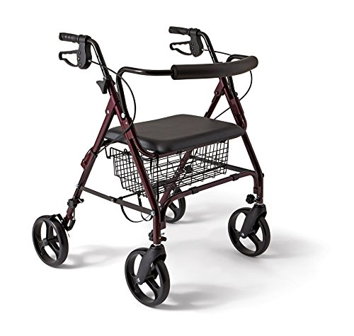 Medline Heavy Duty Bariatric, Aluminum, Mobility Rollator Walker, 8 Inch Wheels, Wider Handles, Padded Backrest and Seat, 400 lbs Capacity,