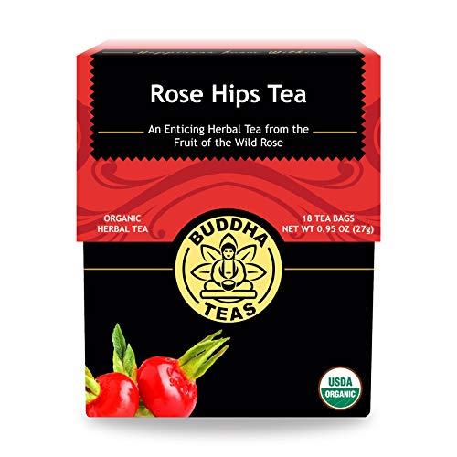 Buddha Teas Organic Rose Hips Tea | 18 Bleach-Free Tea Bags | Immune Boosting Qualities | Good Source of Vitamin C and Antioxidants | Made in the USA | Caffeine-Free | No GMOs