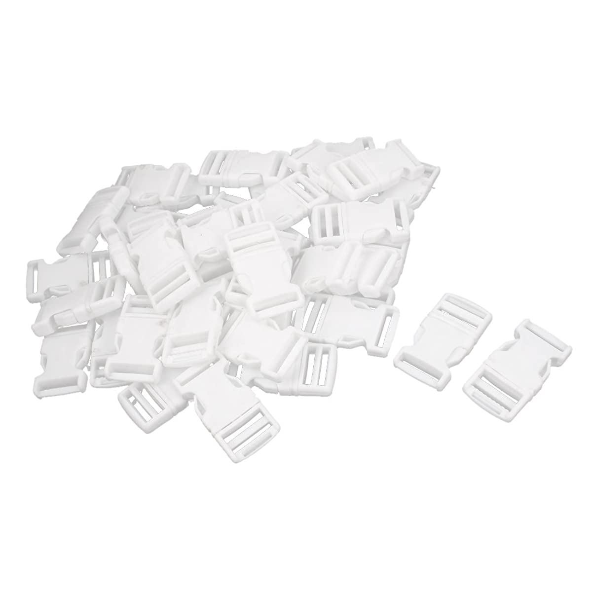 uxcell Luggage 2.5cm Width Strap White Hard Plastic Side Release Buckle 40PCS