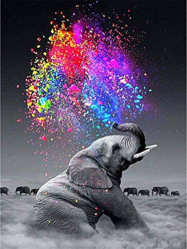 Diamond Painting Kits for Adults,Elephant Diamond Painting,DIY 5D Round Full Drill Art Embroidery Cross Stitch Picture DIY 5D Paint by Diamond Numbers Wall Sticker Decor (12 X 16 Inch)