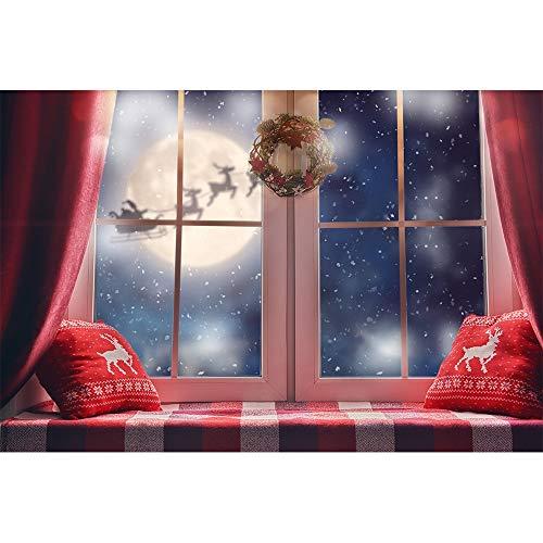 Fondos de Navidad para Fiestas Familiares Árbol de Nieve de Invierno Papá Noel Piso de Madera Fondos para niños Photocall para Estudio fotográfico A19 10x7ft / 3x2.2m