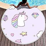 RQPPY 150CM Beach Towel Hell Purpurnes Regenbogen Einhorn Weich Frottee Tagesdecke Mats