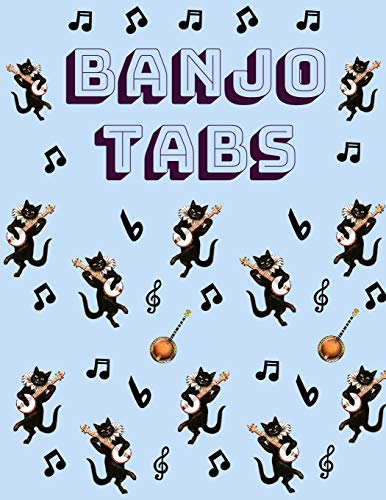 Banjo Tabs: Pretty Black Cat Blue Banjo Tablature Notebook to Write in | Blank Sheet Music Songbook: Learn How to Play Bluegrass, Folk as well as ... Paper Tablature for Banjo with Cool Pattern