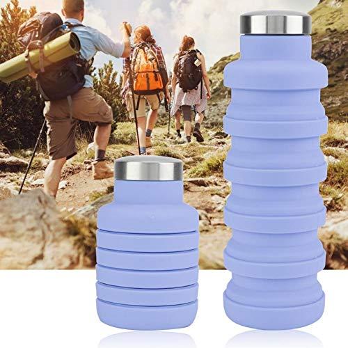 Kadimendium Botella de Agua de Silicona Copa de Silicona de 500 ml para IR de excursión a la Oficina(Purple)