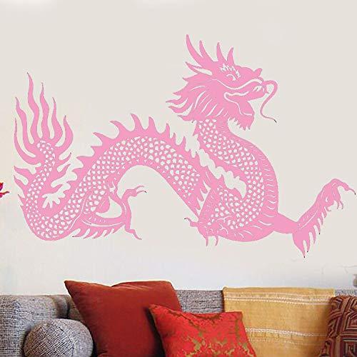 Zaosan Aplique de Pared de Vinilo Símbolo de dragón Chino Pegatina de Pared Pegatina de fantasía de Estilo asiático hogar Sala de Estar dragón Pared Arte Mural