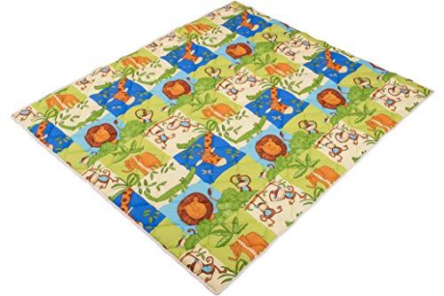IDEENREICH Baby Krabbeldecke Krabbeltraum| Safari | RUTSCHFEST | 130x150cm | ideal als Spieldecke, Krabbeldecke und Laufgittereinlage