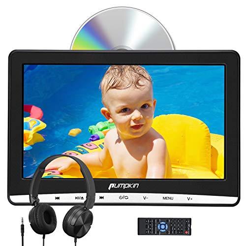 Pumpkin 12 Pouce Lecteur DVD pour Voiture Enfant avec Cable AV et Ecouteur Ecran d'appui tête Inhalation Design Soutient Dernière mémoire Région Libre USB SD