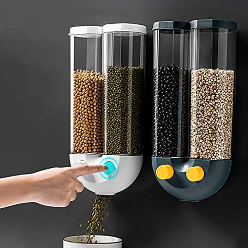 GUANGE Dispenser di Cibo Secco a Parete, Contenitore per Cereali da Cucina a 2 Griglie sigillato, Serbatoio di stoccaggio per Cereali con Design a Imbuto a Bottone, Bianco Grande