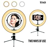 10' Ring Light Mirror with Tripod Stand and Cell Phone Holder Dimmable...