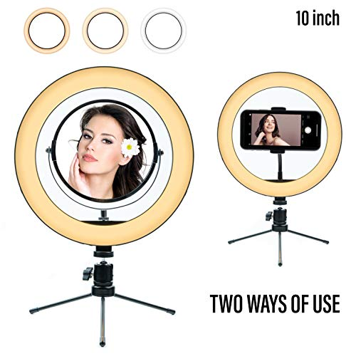 10' Ring Light Mirror with Tripod Stand and Cell Phone Holder Dimmable Desk Makeup Selfie Ring Light | Perfect for Live Streaming&YouTube Video Photography,3 Light Modes &11 Brightness Levels
