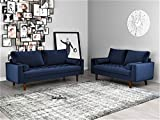 Container Furniture Direct Mid Century Modern Velvet Upholstered Button Tufted Living Room Sofa, 2 Piece Set, Space Blue