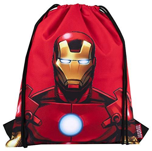 Marvel Comics Sakky Kids Iron Man - Bolsa escolar con cordón para niños - Regalo oficial para niños