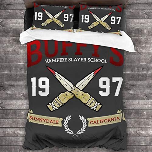 KUKHKU Buffys Vampire Slayer School 3-teiliges Bettwäsche-Set Bettbezug 218 cm x 70 cm, Queen dekoratives 3-teiliges Bettwäsche-Set mit 2 Kissenbezügen