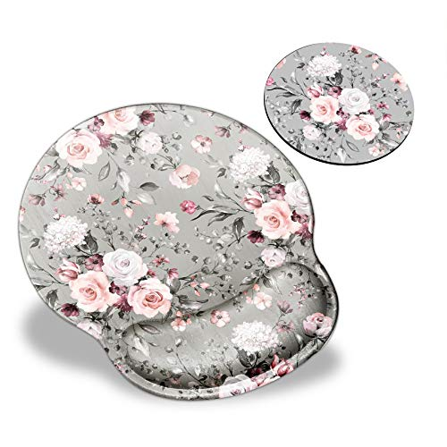 BEROSET Mouse Pad with Wrist Support, Pink Rose Flowers Pattern Design Ergonomic Mouse Pads and Coasters, Gaming Mousepad for Laptop Computer Home Office Working and Pain Relief