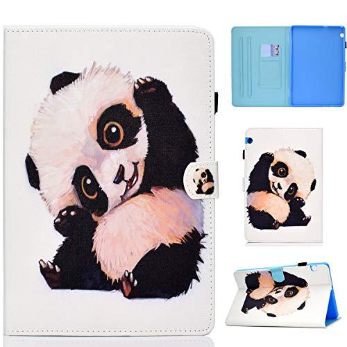 Succtop Huawei Mediapad T5 10 Hülle Flip Brieftasche Tasche Magnetschnalle Multifunktions Tablett Schutzhülle mit Stifthalter & Kartensteckplatz für Huawei Mediapad T5 10 10,1 Zoll 2018 - Panda