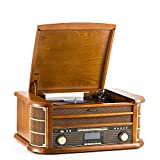 Shuman Vintage 8-in-1 Wireless Music Centre with Remote Control, 3-Speed Turntable, DAB Digital/FM Radio, CD/Cassette Player, USB Playback/Recording, RCA Line Out, Real Wood Construction (MC-250DBT)