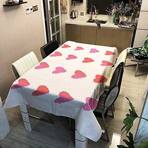 XXDD Mantel Rectangular de Color Rosa con corazón de Amor, Bonito y Encantador, decoración de Matrimonio, Cubierta de Mesa de Comedor, manteles para el hogar A15, 140x200cm