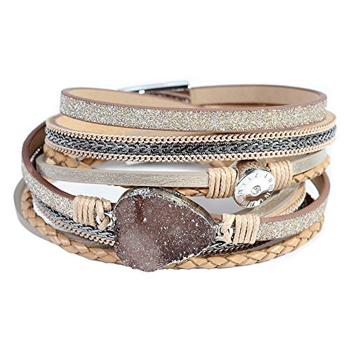 Leather Cuff Bracelet for Women - Boho Beads Wrap Clasp Bangle Bracelet Leather Wristbands Birthday Gifts for Women(Brown with druzy)