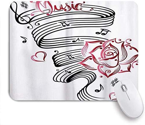 Gaming Mouse Pad rutschfeste Gummibasis, Tattoo Bleistiftzeichnung Romantische Sanduhr Symbol der ewigen Liebe mit Rosen Musik, für Computer Laptop Schreibtisch