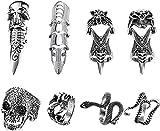 CASSIECA 8 Piezas Vintage Punk Anillos para Hombres Mujeres Anillos Ajustables Set Armor Knuckle Rings Anillo de Dedo...