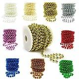 Sepkina Cadena de perlas decorativas para Navidad, bodas, árboles, guirnalda de perlas, precio base 1 €/M (oro, 8)