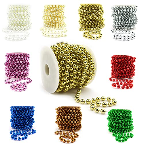 Sepkina Catena di perle decorative, catena di perle, per matrimonio, albero di Natale, ghirlanda di perle, prezzo di base 1€/M (oro, 8)