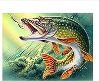 DSJHK パズルジグソーおもちゃパズル1000ピース大人のパズルDiyフェスティバルギフト大きな魚はフックを食べる現代の家の装飾壁アートインテリジェンスゲームユニークなギフト75X50Cmパズル