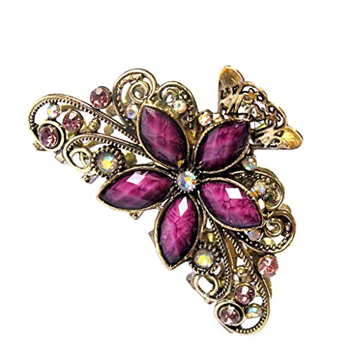 Bonarty Retro Gold Zarte Kristall Schmetterling Blume Design Haar Griff Klaue Clamp - Lila