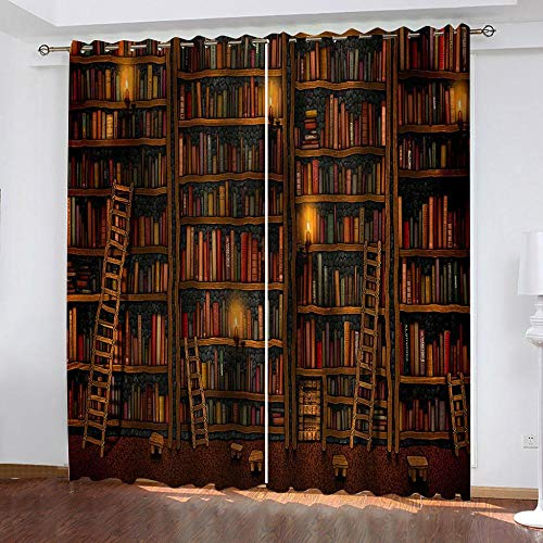 NHBTGH Blackout Curtains Bookshelf Eyelet Curtains 92.12x53.93 inch Printed Polyester Super Soft Thermal Insulated Noise Reducting Energy Saving for Bedroom Kids Room Curtain Two Panels