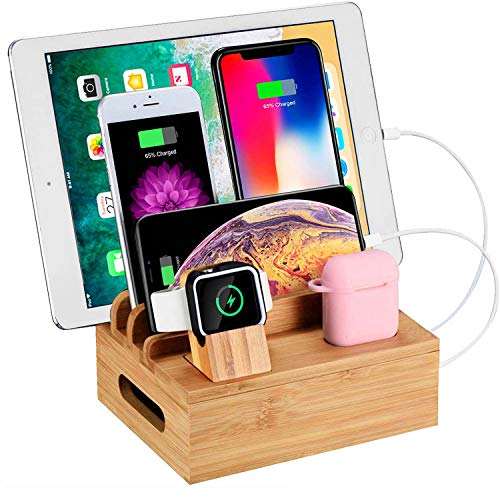 WXTOOLS Bamboo Wood Desk Organizer for Multiple Devices, Charging Stations Accessories Docking Cradle Holder Compatible Cell Phone, Tablet, Apple Watch, Airpods