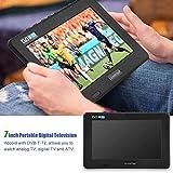 Richer-R Televisión Digital,Televisor Portátil con Cargador de Coche de 12V,Reproductor Multimedia/Grabador de Video con Soporte de Ventosa(Plug UE.)