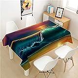 XXDD Mantel Luminoso Poliéster Hotel Mesa de Picnic Mantel Rectangular Hogar Restaurante Mesa de Centro Decoración Familia A2 150x210cm