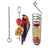 X-zoo - Supporto per mangiatoie per uccelli, da appendere alla frutta e verdura per pappagalli, per mangiatoie per uccelli, in acciaio INOX