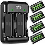 2800mAh Controller Battery Pack for Xbox One/Xbox Series X/Xbox One S/Xbox One X/Xbox One Elite, NYI 4 x 2800 mAh High Power Rechargeable NI-MH Batteries Kit with Charger