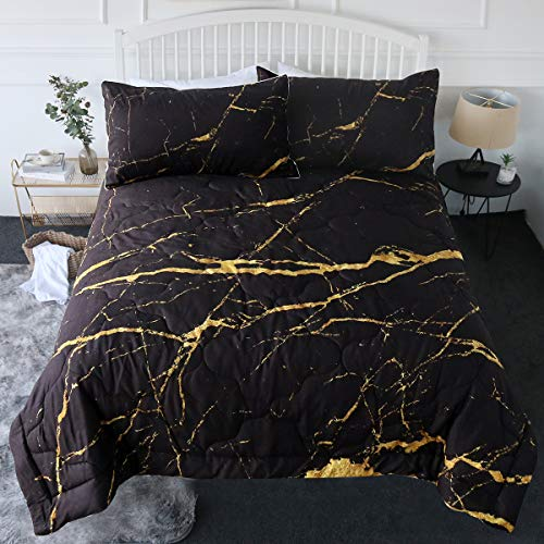 BlessLiving 3 Piece Marble Comforter Set with Pillow Shams Bedding Set with 3D Printed Designs Reversible Comforter King Size Bedding Sets, Faux Gold Glitter Black Marble Stone