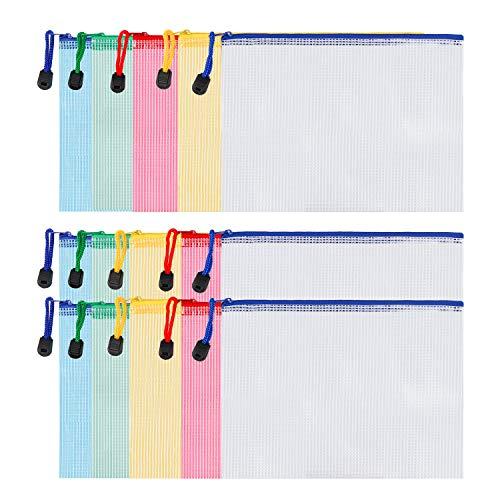 Gydandir 15 Stück A5 Größe Reißverschluss Datei Taschen Dokumententasche Dokument Dateien Brieftasche Kunststofftaschen mit Reißverschluss für Büros Schulbedarf