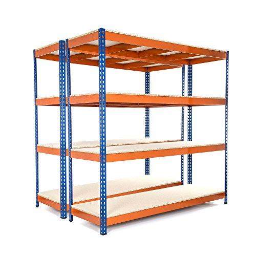 Racking Solutions - MEGA DEAL - 2 unidades de estantería / Estante del garaje de acero, cargas pesadas, capacidad de carga total 3200kg (4 niveles 1800mm Al x 1800mm An x 600mm Pr) + Envío gratis