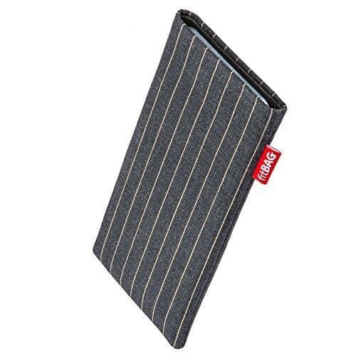 fitBAG Twist Grau Handytasche Tasche aus Nadelstreifen-Stoff mit Microfaserinnenfutter für Carbon 1 MKII | Hülle mit Reinigungsfunktion | Made in Germany