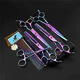 M-Chteranoto 7 Inch Blue Mascotas Tijeras de peluquería Set de 4 Piezas Conjunto combinación de Doblado Tijeras Tijeras de reducción Especiales Color Set1