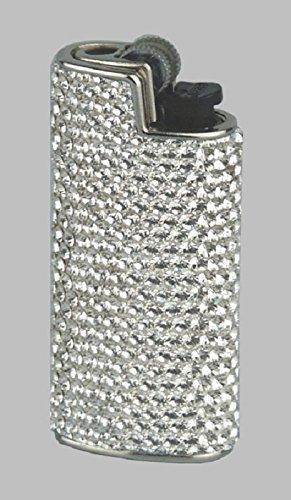BIC Feuerzeughülle Mini Bic mit Swarovski Elements weiß mit Mini Bic Feuerzeug
