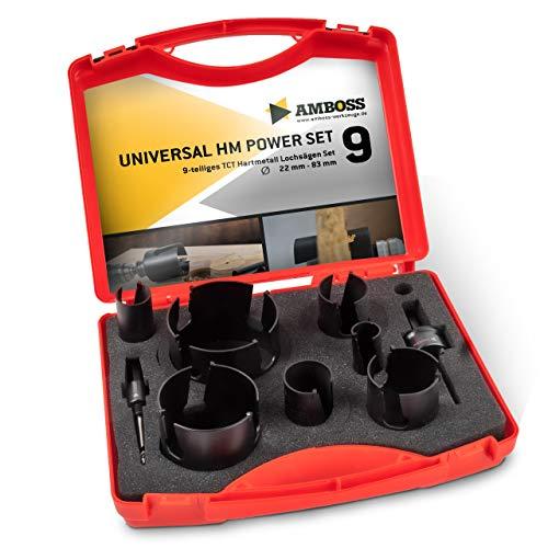 Amboss Universal-Lochsägen Set Ø 22-83 mm   9-teilig   inkl. 6-kant Aufnahme   HM Power Set