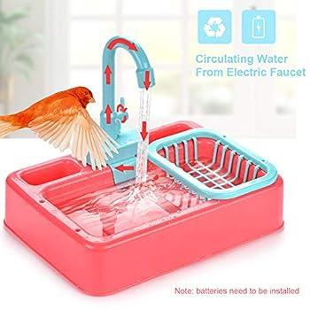 ChicSoleil Baignoire de douche pour oiseaux, perroquet, baignoire automatique, jouet pour oiseau avec robinet et piscine - Bol pour perroquet, perruche, calopsitte.