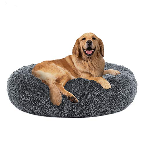 PUPPBUDD Calming Dog Bed Cat Bed Donut, Faux Fur Pet Bed Self-Warming Donut Cuddler, Comfortable Round Plush Dog Beds for Large Medium Dogs and Cats (24'/32'/36')