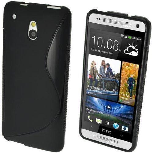 GADGET BOXX HTC ONE MINI M4 S-LINE Silikon-Gel in SCHWARZ ABDECKUNG FALL und Bildschirmschutz