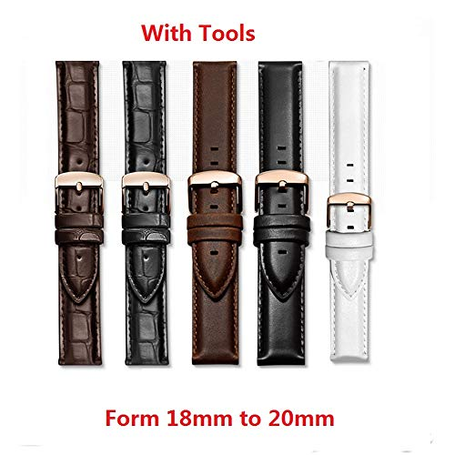 Affordable BDCJ Calfskin Leather Watch Band Straps Watch with Stainless Steel Pin Clasp Width 18mm (...