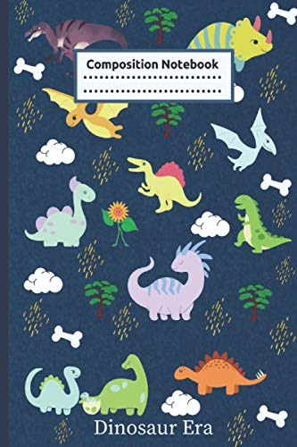 Dinosaur Era Composition Notebook: Dotted Midline Primary Composition Notebook 110 Lined Pages - Blue (Kids Jurassic Composition Notebooks) My ... write journal Student Teacher Daily Creative